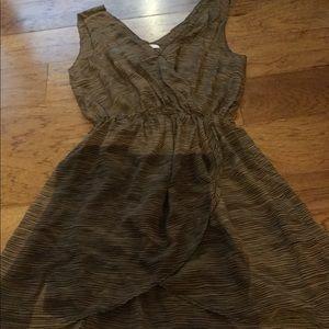 Joke silk faux wrap mini dress brow stripes xS s